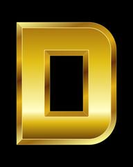 rectangular beveled golden font, letter D