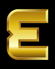 rectangular beveled golden font, letter E