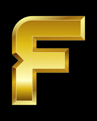 rectangular beveled golden font, letter F