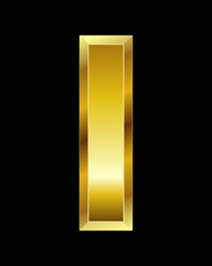 rectangular beveled golden font, letter I