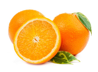 two oranges and slice with leaves isolated