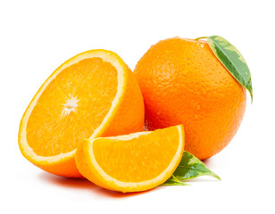 orange and slice with leaves isolated