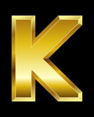 rectangular beveled golden font, letter K