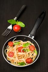 Italian pasta  in a fry pan