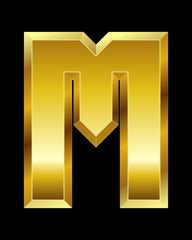rectangular beveled golden font, letter M