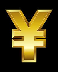 rectangular beveled golden font, yen and yuan currency symbol
