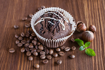 chocolate muffins with hazelnuts and coffee beans