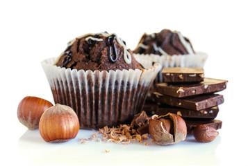 chocolate muffins with hazelnuts