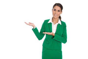 Presenting isolated businesswoman in green suit presenting new p