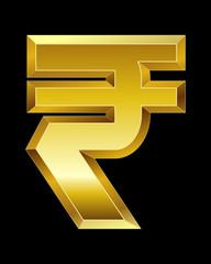 rectangular beveled golden font, rupee currency symbol