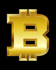 rectangular beveled golden font, bitcoin currency symbol