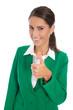 Erfolgreiche junge Karriere Frau in Grün: Konzept Daumen