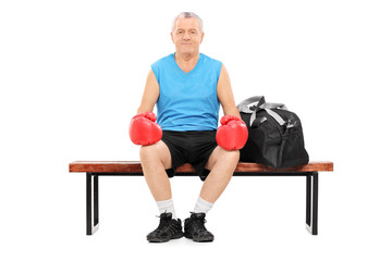 Mature boxer sitting on a bench