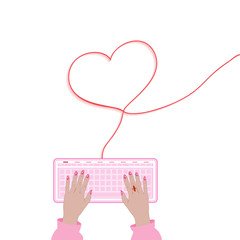 connections network  communication in Valentine day