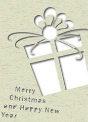 cartolina natalizia pacco regalo