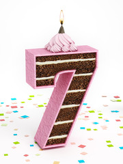 Number 7 shaped chocolate birthday cake with lit candle