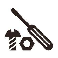 Screwdriver, nut and bolt icon
