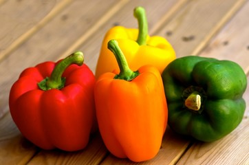 Closeup of sweet peppers in different colors.