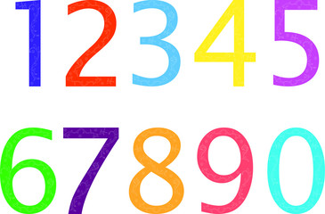 illustration of colorful numbers - vector