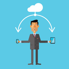 Businessman using cloud storage for smartphone and tablet