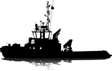 Sea towboat. Vector silhouette.