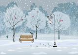 Fototapety Birds in the winter snowy park