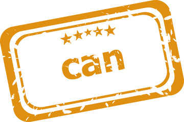 can on rubber stamp over a white background