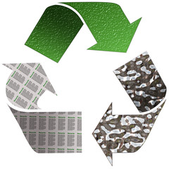 Recycle Paper Glass and Tin