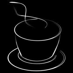 Illustartion style logo coffee cap