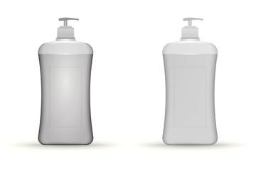 Vector illustration of gray dispenser pump bottles mock up