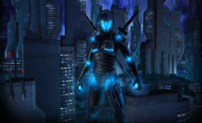 Female cyborg character