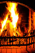 canvas print picture - Burning Fireplace. Chimney and woodpile. Chimney place. Christma