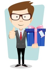 Businessman with colorful gift boxes giving the thumbs up.