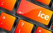 ice word on computer pc keyboard key