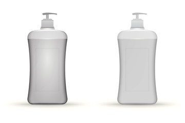 Illustration of gray dispenser pump bottles mock up
