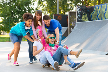 Young people having fun at the skatepark