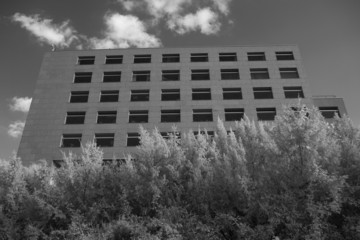 Black and white infrared shot of office building