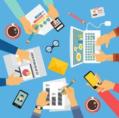 Business people. Workplace flat illustration icon set