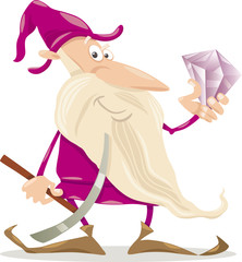 dwarf with diamond cartoon illustration