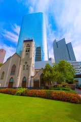 Houston cityscape Antioch Church in Texas US