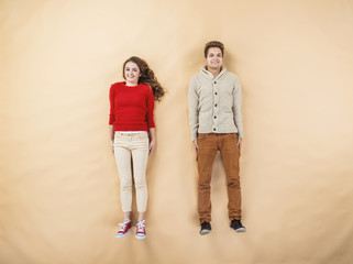Winter couple beige background