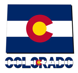 Colorado map flag and text illustration