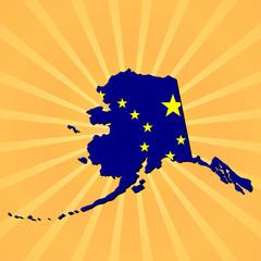 Alaska map flag on sunburst illustration