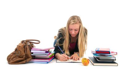 Teen girl making homework for school