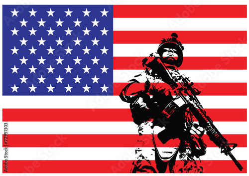 Vector illustration of US marine - 72951303