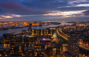 rotterdam city night lights