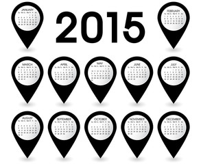 Calendar Year 2015 Pins Vector Black