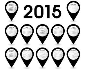 Calendar Year 2015 Pins Vector Black
