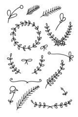 Set of floral hand drawn doodles