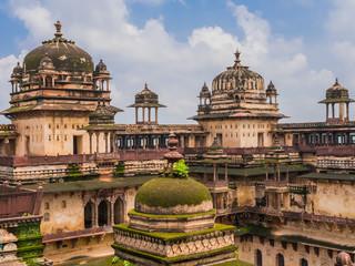Typical domes of Jahangir Mahal, the Orchha Palace, India